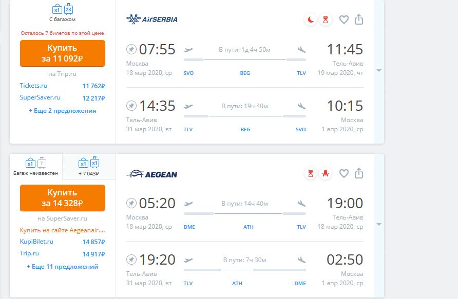Стоимость перелета из Москвы в Израиль